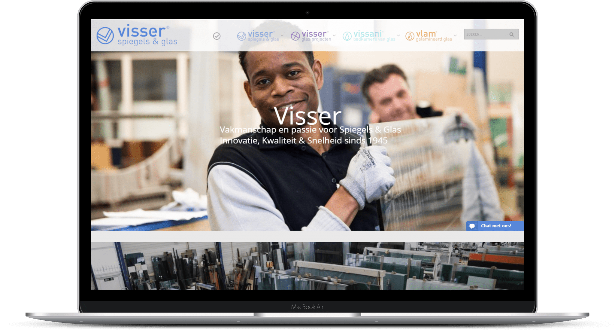 Website van Visser Glas
